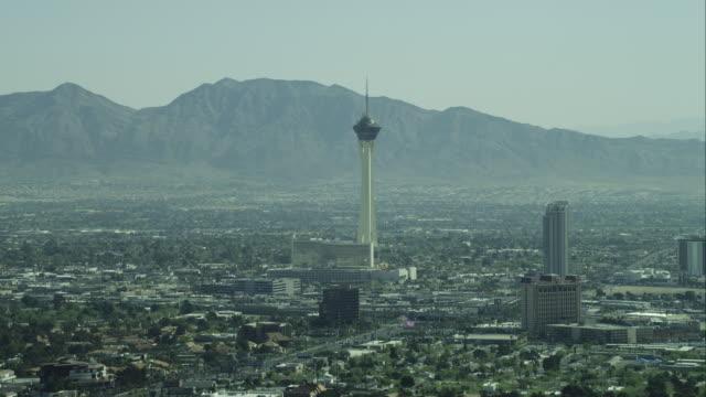 Aerial Wide Shot Stratosphere Las Vegas