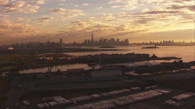 Aerial Wide Shot Sunset Downtown Manhattan