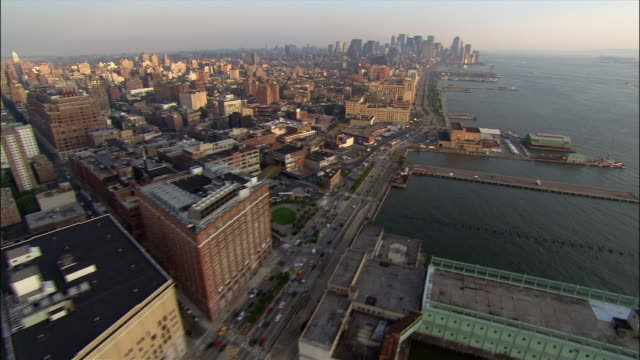 aerial wide shot the west side of manhattan from midtown to lower manhattan/ new york, new york - chelsea piers stock videos & royalty-free footage