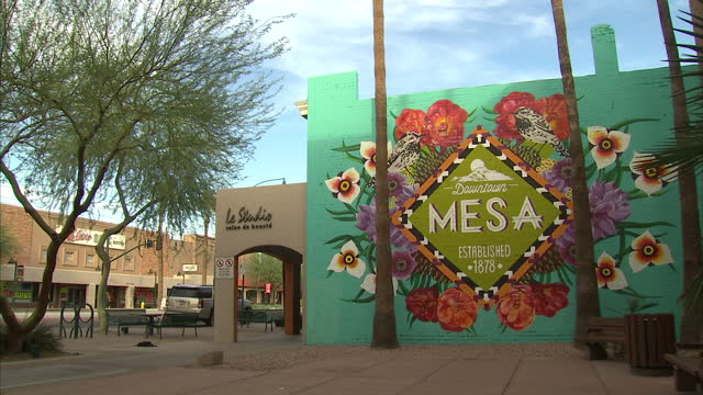 aerial wide shots of downtown mesa on october 16 2016 in arizona united states - mesa stock videos and b-roll footage
