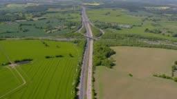 Aerial Wide View of a Motorway Junction M25 M40, UK. 4K