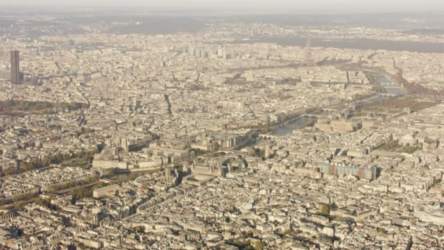 aerial wide view of paris france with eiffel tower, morning after sunrise - île de france stock-videos und b-roll-filmmaterial