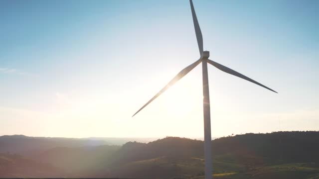 aerial wind turbine clean power technology - turbine stock videos & royalty-free footage