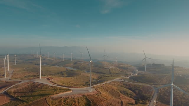 Aerial Wind turbine farm