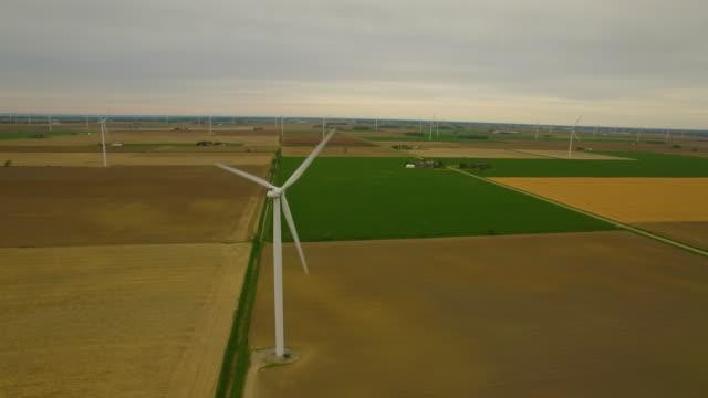 aerial wind turbine farm - michigan stock videos & royalty-free footage