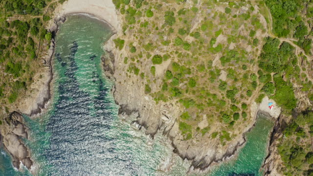 aerial windy bay in costa brava coast in spring time - bay of water stock videos & royalty-free footage