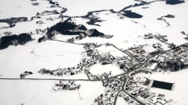 Aerial Winter Landscape Village