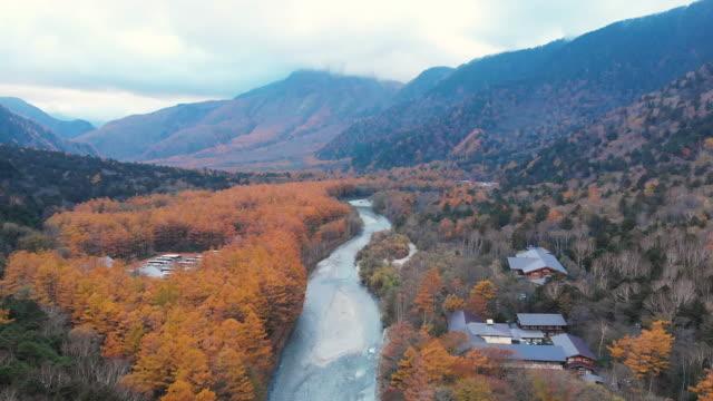 aerial with dolly forward of autumn at kamikochi, nagano, japan. - dolly shot stock videos & royalty-free footage