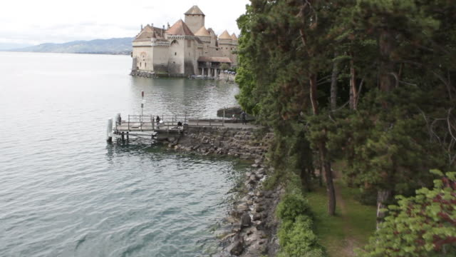 aerial w/s, atmospheric castle chillon - montreux stock videos and b-roll footage