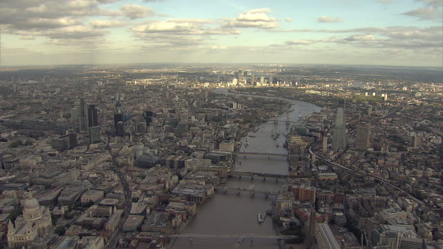 """aerial w/s city of london,  south bank tracking along river thames"" - river thames stock videos & royalty-free footage"