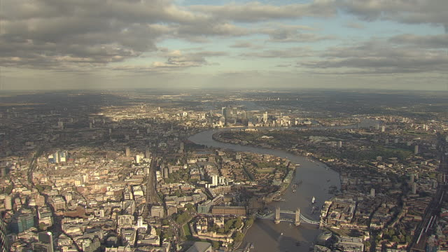 """aerial w/s east end of london, tower bridge with canary wharf in distance"" - east london stock videos and b-roll footage"