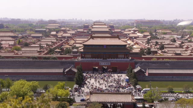 Aerial W/S, Forbidden City, Jingshan Park, Tongzi River, Gate of Divine Might, north entrance, moat, rooftops, Beijing, China