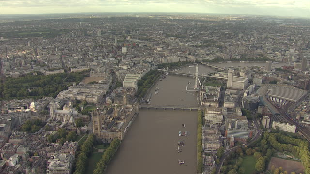 'Aerial W/S Westminster, The South Bank, City of London and River Thames'