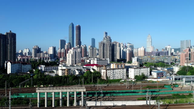 aerial wuxi railway station - wuxi stock videos and b-roll footage