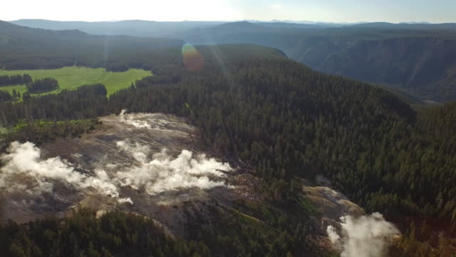 aerial wyoming yellowstone national park - geyser stock videos & royalty-free footage