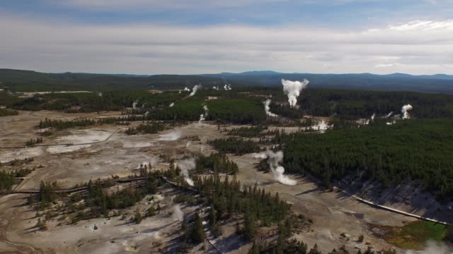 aerial wyoming yellowstone national park - yellowstone national park stock videos & royalty-free footage