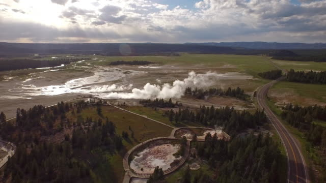 aerial wyoming yellowstone national park - geyser stock videos and b-roll footage