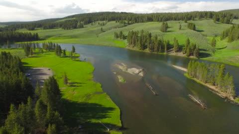 aerial wyoming yellowstone national park - yellowstone national park stock videos & royalty-free footage