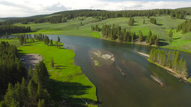 aerial wyoming yellowstone national park - river yellowstone stock videos & royalty-free footage