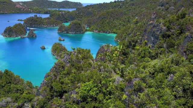 aerial: yachts between small islands in bright blue ocean, raja ampat islands, indonesia - indonesia video stock e b–roll