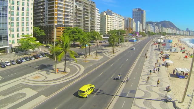 Aerial: Yellow Taxi Travelling on Road of Brazil