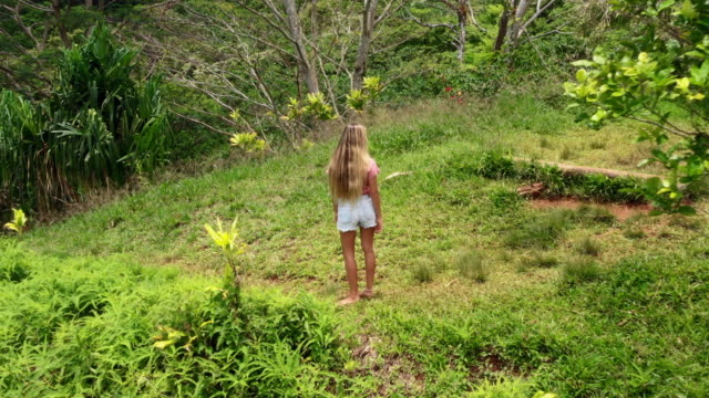 aerial: young woman surrounded by trees and plants on a tropical island, moorea, french polynesia - french polynesia stock videos & royalty-free footage