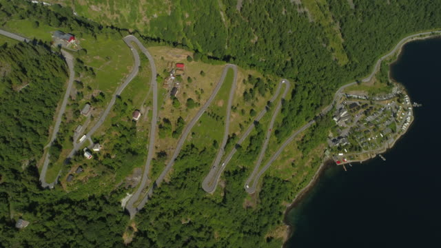 aerial: zigzag winding road on green tree mountain by fjord during sunny day - geiranger fjord, norway - zigzag stock videos & royalty-free footage