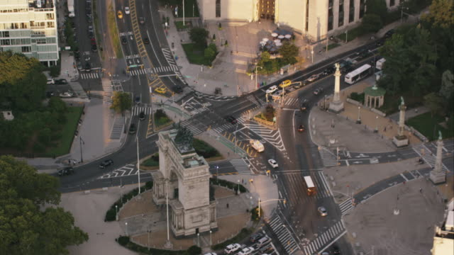 Aerial zoom out from Grand Army Plaza to reveal Brooklyn Public Library and Prospect Park, Brooklyn NY