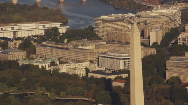 aerial zoom out from harry s. truman building, washington dc - john f. kennedy center for the performing arts stock videos and b-roll footage