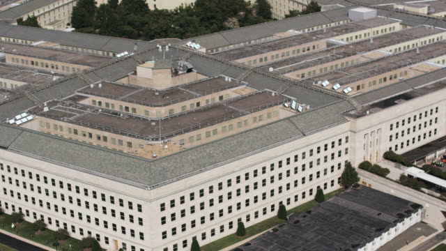 Aerial zoom out from The Pentagon, daytime Washington D.C.