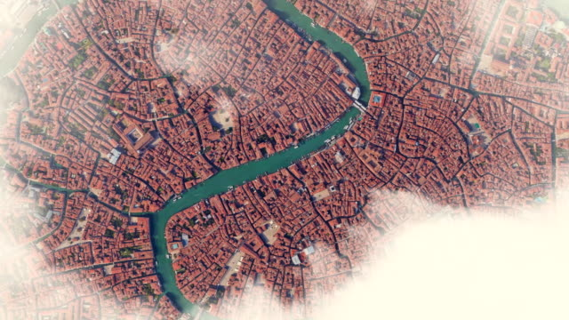 aerial zoom out view of venice with canals to the planet earth with outer space view. - zoom out video stock e b–roll