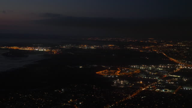 Aerial:Auckland City at night