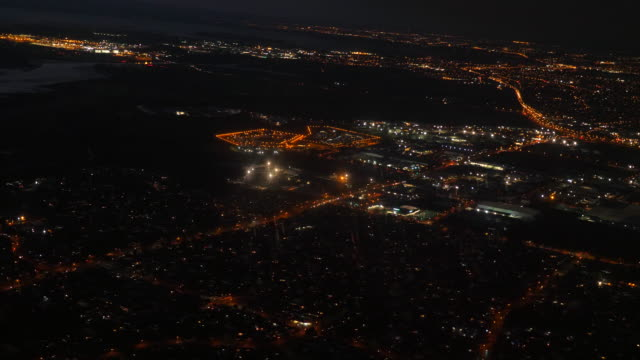 aerial:auckland city at night - motorway junction stock videos & royalty-free footage
