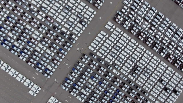 aerial:auto export car wait for deliver - parking lot stock videos & royalty-free footage