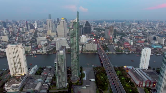 Aerial:Bangkok city at dusk