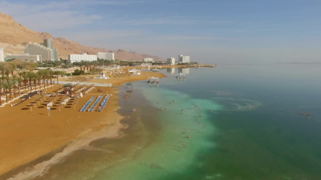 Aerial/Dead sea with Turquoise water, hotels and beach ,Israel