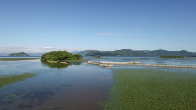 aerial,fish trap in lake biwa - shiga prefecture stock videos & royalty-free footage