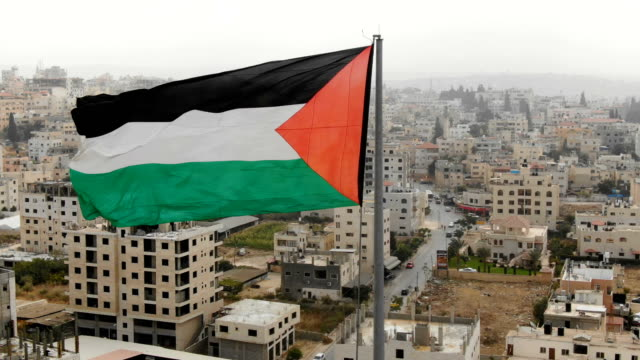 aerial/flag of palestine blowing in the wind - palestinian stock videos & royalty-free footage