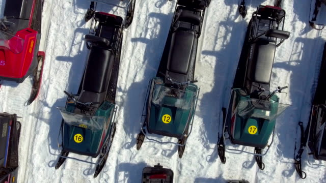 Aerial:Group of Snowmobiles