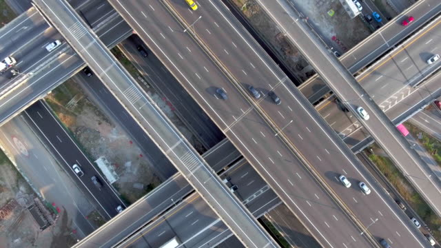 aerial:highway traffic - commercial land vehicle stock videos & royalty-free footage