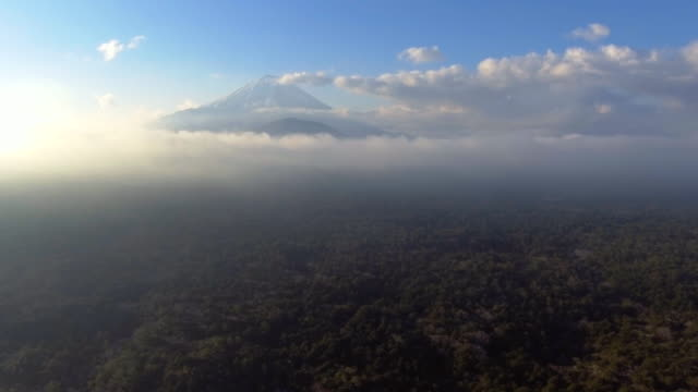 Aerial:Mt Fuji over the Cloud with sun sky