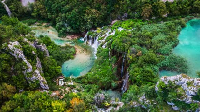 aerial:plitvice lakes national park in croatia - croatia stock videos & royalty-free footage