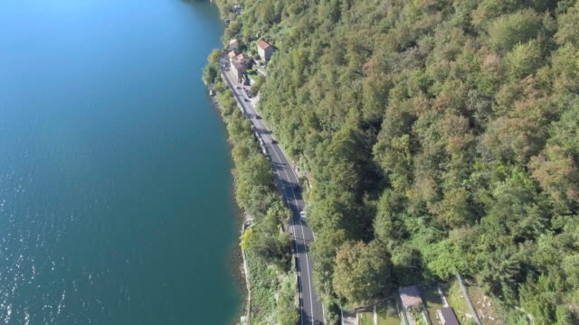 Aerial:Road at along the mountain