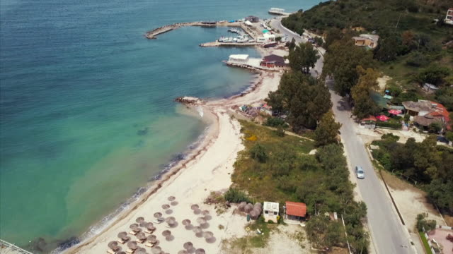 aerials and gvs of the albanian coast - albania stock videos & royalty-free footage
