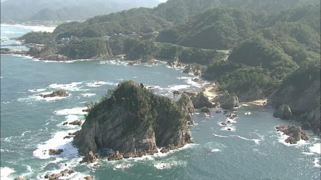 aerials coastline of tottori japan - coastline stock videos & royalty-free footage