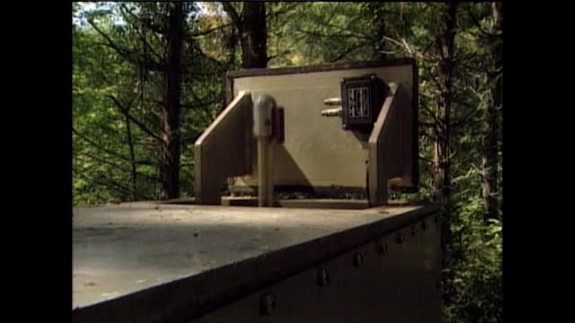 aerials for nuclear bunker appearing out of manholes in forest; 1995 - bomb shelter stock videos & royalty-free footage