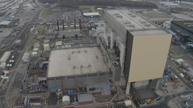 aerials heysham nuclear power station, uk - radiation stock videos & royalty-free footage
