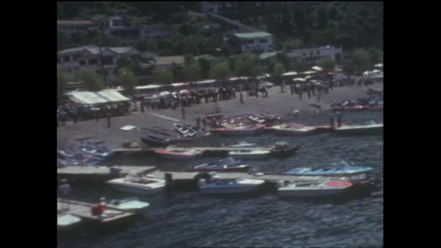 vidéos et rushes de 1969 aerials lake kawaguchi japan - préfecture de yamanashi
