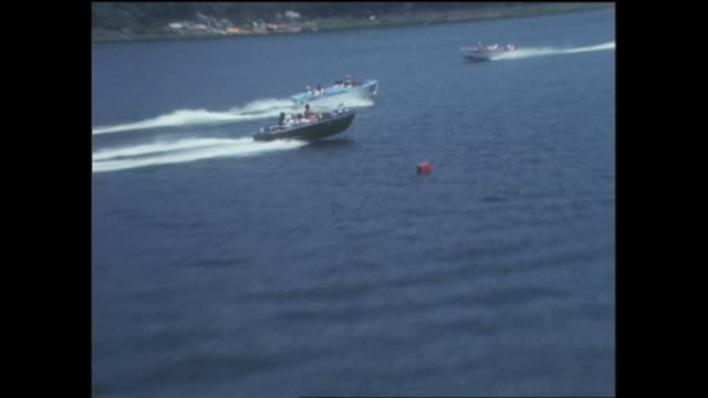 1969 aerials lake kawaguchi japan - small boat stock videos & royalty-free footage