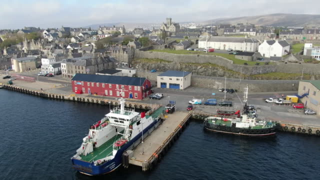 aerials lerwick, shetland isles - coastline stock videos & royalty-free footage